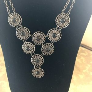 Premier Designs hematite and crystal necklace. New